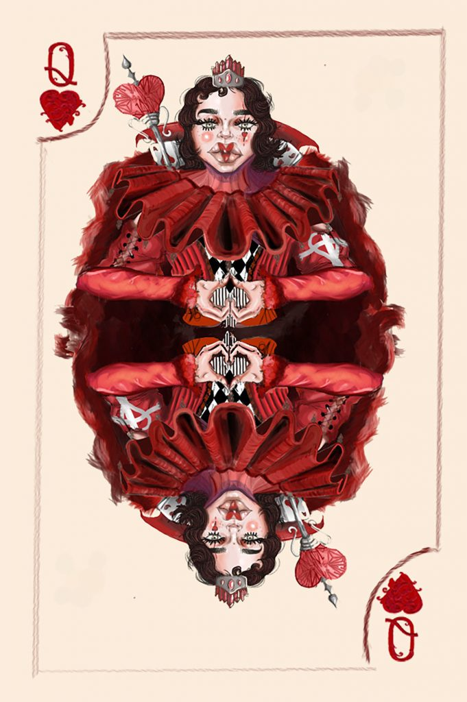 Queen of Hearts Card Illustration, 2020